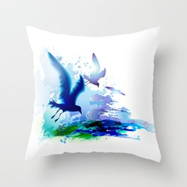 Birds flying. Sea, ocean watercolor gulls with waves. Dark blue water. Throw Pillow