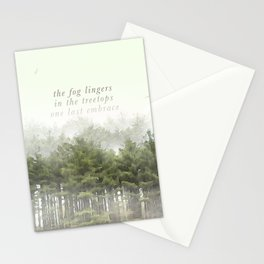 the fog lingers / in the treetops / one last embrace: Haikushion Stationery Cards