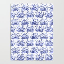 Blue Chinoiserie Toile Poster