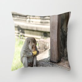 Angkor Wat Long-Tail Macaque (Monkey), Cambodia Throw Pillow