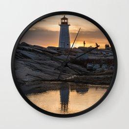 Peggys Point sunset walk Wall Clock