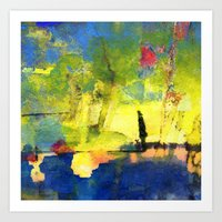 meditation Art Prints featuring Meditation . by agnes Trachet