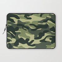 military Laptop Sleeves featuring Green Military Camouflage Pattern by SW Creation