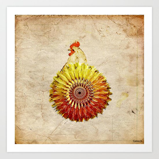 The hen colored Art Print