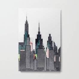 Colorful City Buildings And Skyscrapers Sketch, New York Skyline, Wall Art Poster Decor, New York Metal Print