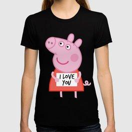 Peppa pig  i love u T-shirt