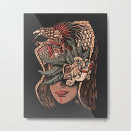 Aztec Eagle Warrior Metal Print