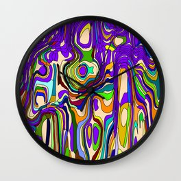 Abstract interweaving of pink spots from pastel flowing lava and vertical symmetrical blots. Wall Clock
