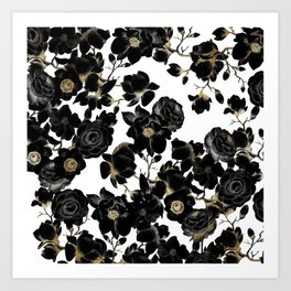 Modern Elegant Black White and Gold Floral Pattern Art Print