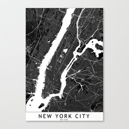 New York City Black And White Map Canvas Print