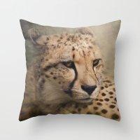 cheetah Throw Pillows featuring Cheetah  by Pauline Fowler ( Polly470 )