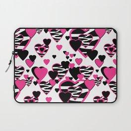 Hot Pink Zebra Animal Print Geometric Hearts Laptop Sleeve