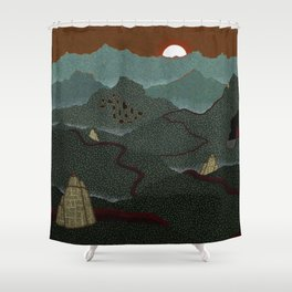 mountain system Shower Curtain