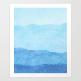 Ombre Waves in Blue Art Print