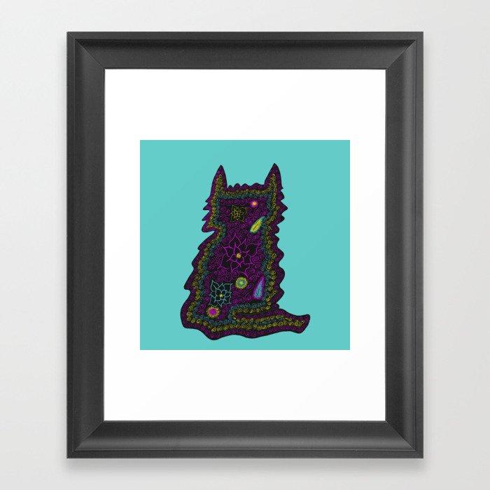 Black Cat With Roses Framed Art Print