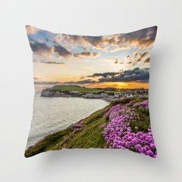Freshwater Bay Sea Thrift Sunset Throw Pillow