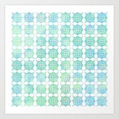 Pattern Play: Green/Blue Geometric  Art Print