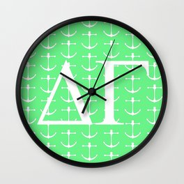 Green Anchors Wall Clock