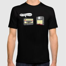 The Obsoletes (Retro Floppy Disk Cassette Tape) SMALL Mens Fitted Tee Black
