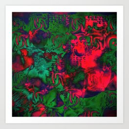 Experimental in Green and Red Art Print