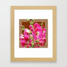 Coffee Brown Fuchsia Pink Holly Hocks Pattern Flora Art Framed Art Print