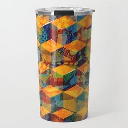Tumbling Blocks Yellow Travel Mug
