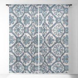 Floral ceramic tile design in blue color #Terrazzo #Blobs Sheer Curtain