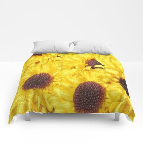Painterly Yellow Sunflowers Comforters