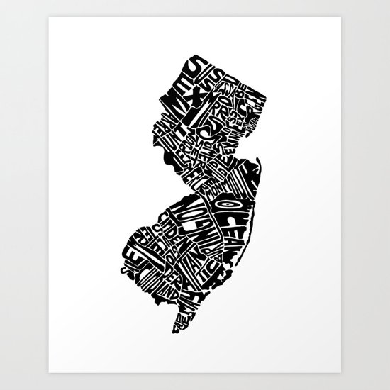 Typographic New Jersey Art Print