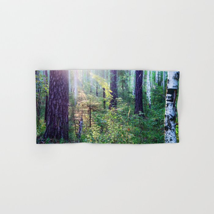 Sunny morning in the forest Hand & Bath Towel