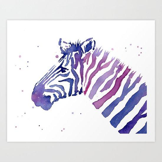 Zebra Watercolor Purple Stripes Animal Art Print