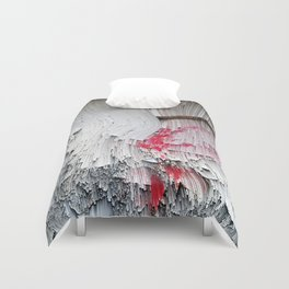 Red flowers on a wall Duvet Cover