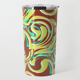 Ella - Retro Swirls Green Brown Travel Mug