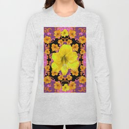 TROPICAL YELLOW & GOLD AMARYLLIS FLOWERS PATTERN ON Long Sleeve T-shirt