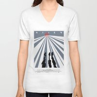 movie poster V-neck T-shirts featuring Alien (1979) Movie Poster by desistfilm