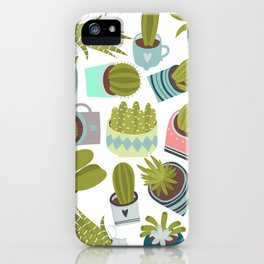 Abstract pink coral green floral cactus plants iPhone Case