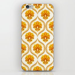 Ivory, Orange, Yellow and Brown Floral Retro Vintage Pattern iPhone Skin