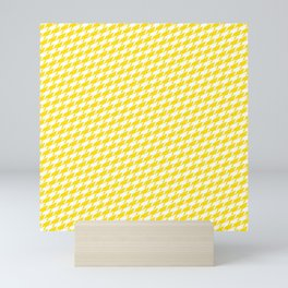 Sharkstooth Sharks Pattern Repeat in White and Yellow Mini Art Print
