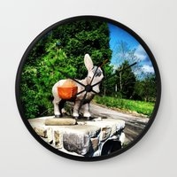 donkey Wall Clocks featuring Donkey by CleanSlate