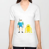 finn and jake V-neck T-shirts featuring Finn & Jake by Pahito
