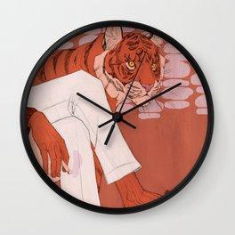 Tiger in Smoke (Burgundy) Wall Clock