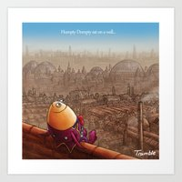 """""""Humpty Dumpty"""" Page Sample (Mother Goose Retold-Trumble Book) Art Print"""
