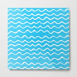Simple aqua and white handrawn waves - for your summer on #Society6 Metal Print