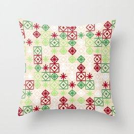 Geometric Lace – Christmas Palette Throw Pillow