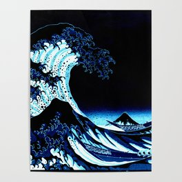the Great Wave blue Poster
