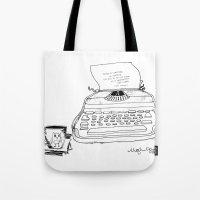 hemingway Tote Bags featuring Earnest Hemingway Writing on Typewriter by Meghann Chapman