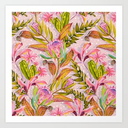 Botanical love pattern Art Print