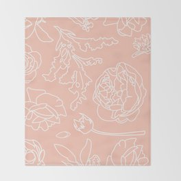 Peony Print (Peach) Throw Blanket