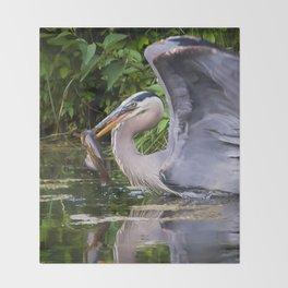 Heron and bullhead take-off Throw Blanket