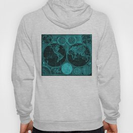 World Map (1794) Black & Turquoise Hoody
